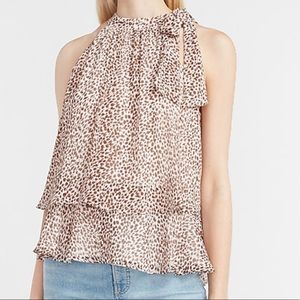 Leopard Print layered tie neck tank - XL NWT
